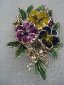Vintage 1960's Large Size Pansy Brooch signed Exquisite (SOLD)